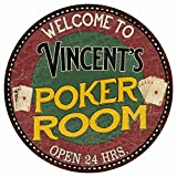 Great American Memories Vincent's Poker Room 12'' Round Metal Sign Kitchen Bar Red Wall Décor GR14128448