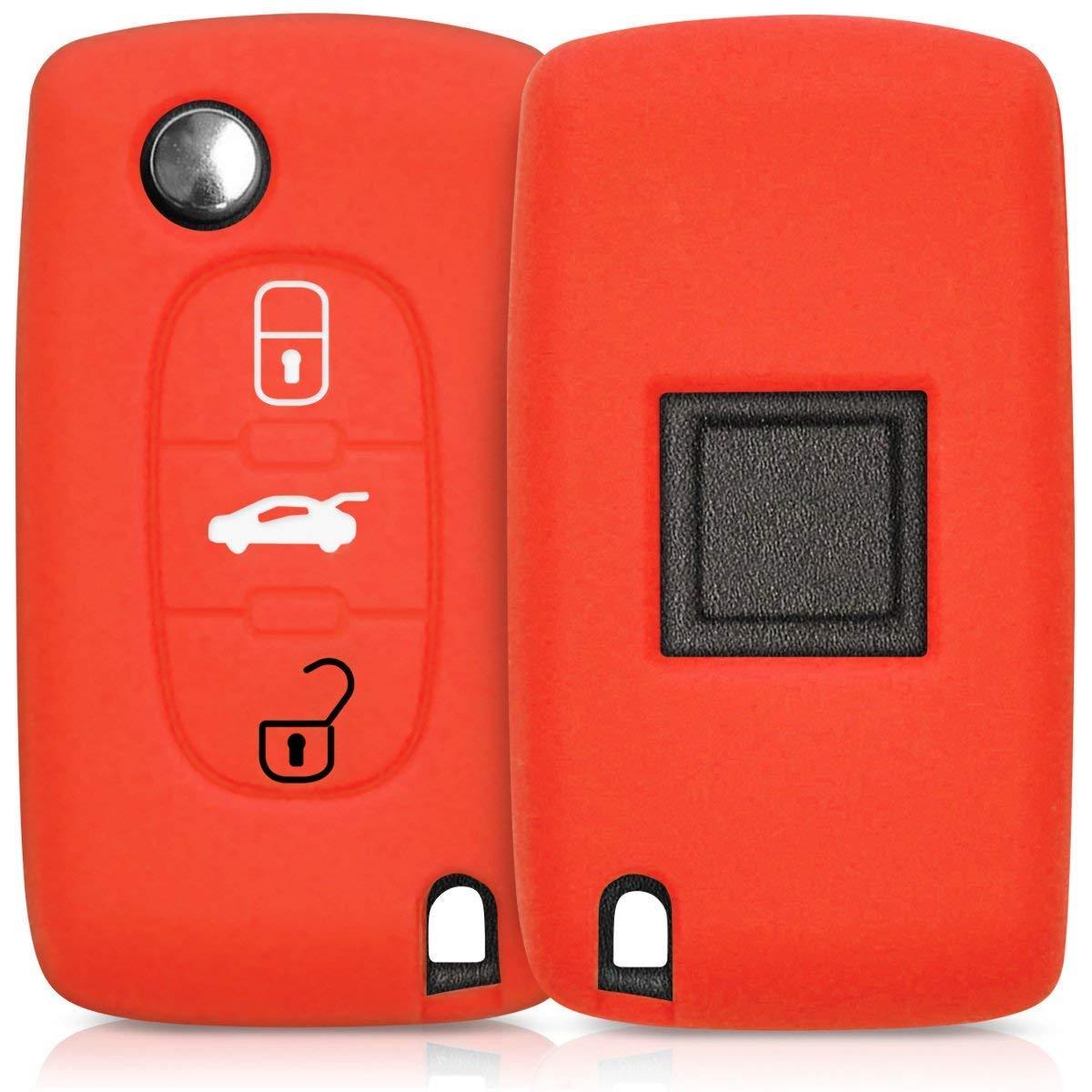 Cl/é de Voiture Coque cl/é de Voiture Housse en Silicone Cl/é de Voiture Housse de Protection en Silicone Housse pour cl/é Peugeot Citroen 3/Boutons Red