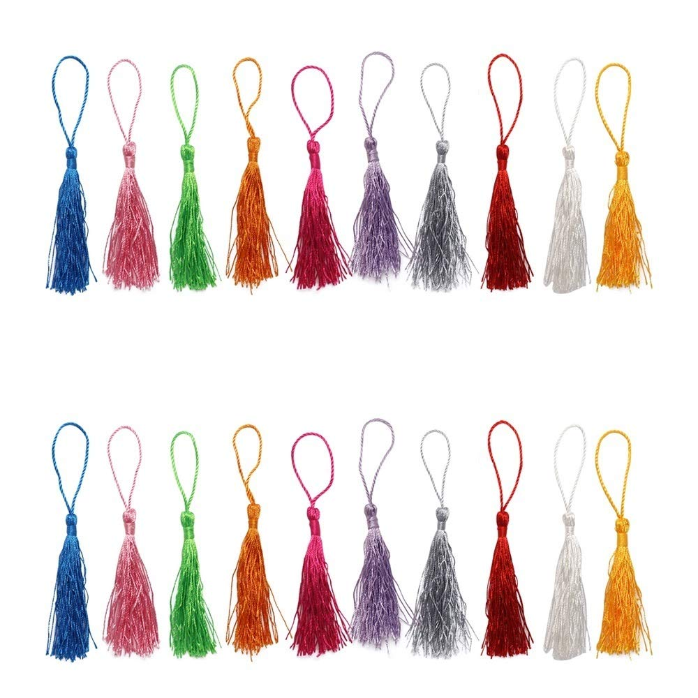 Dreamtop 100pcs 13cm/5 Inch Silky Handmade Soft Craft Mini Tassels with Loops for Jewelry Making DIY Projects Bookmarks, 10Colors 4337038774