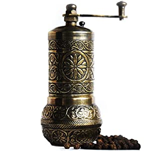 Bazaar Anatolia Turkish Grinder, Pepper Mill, Spice Grinder, Pepper Grinder (4.2'', Antique Gold)
