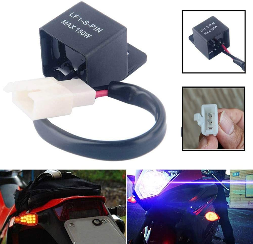 Gebildet 2pcs Universal 12V 2-Pin Flasher Relay LF1-S-PIN 0.1W-150W Auto Motorcycle LED Turn Indicator Light Flasher Relay Turn Signal Rate Control Blink Relais