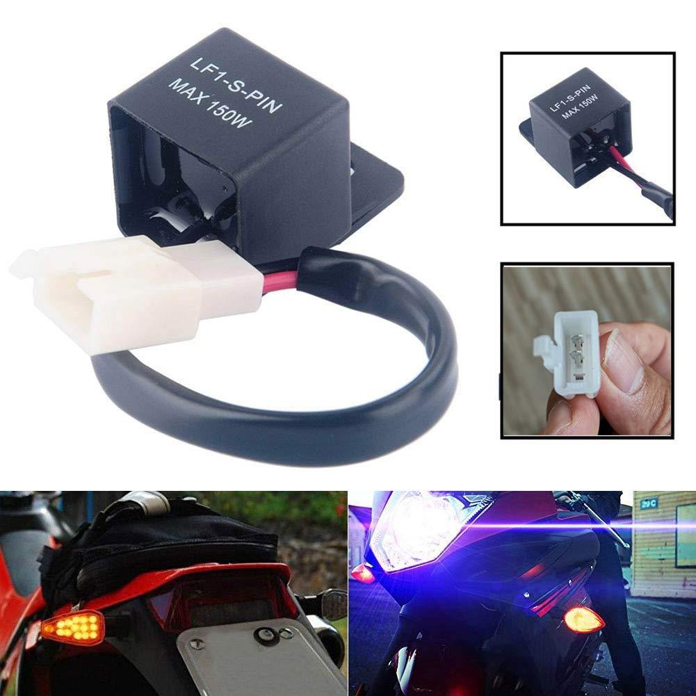 Gebildet 2 St/ücke 2 Polig Blinkrelais LF1-S-PIN 12V 0.1W-150W Elektronisch Relais fur Auto Motorrad-LED-Fahrtrichtungsanzeiger Lastunabh/ängiges