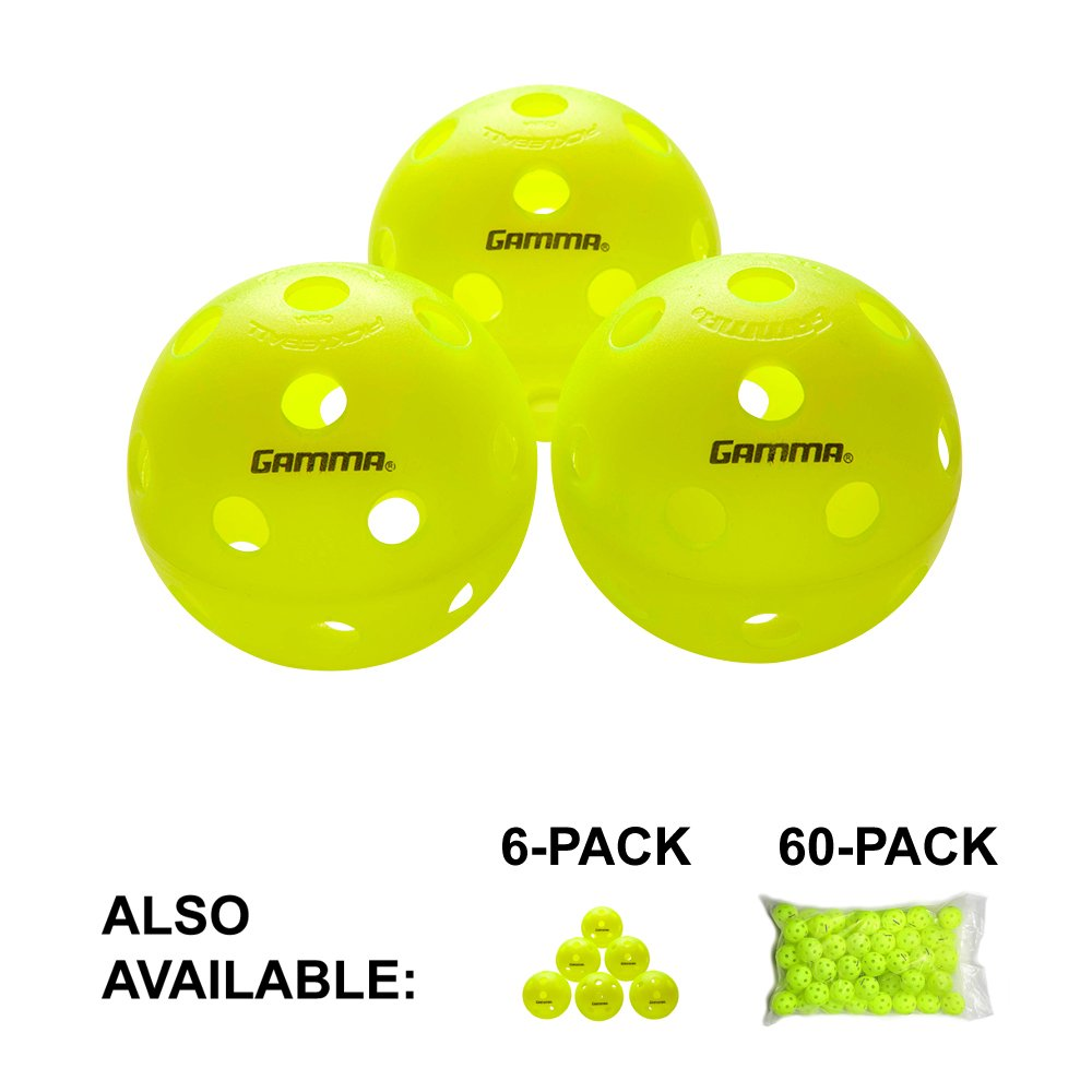 Gamma Sports Photon Indoor Pickleballs, High-Vis Optic Green USAPA Approved Pickleball Balls (3 Pack)