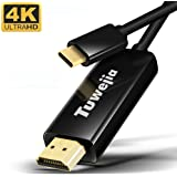 USB C to HDMI Cable 6ft, Tuwejia USB 3.1 Type C (Thunderbolt 3 Port) to 4K 60Hz HDMI (2.0/1.4) Cable Adapter for New MacBook, MacBook pro, iMac, Chromebook Pixel, Samsung Galaxy S8/S9, S8/S9 plus Note
