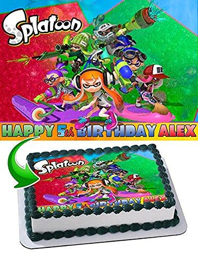 Splatoon Nintendo Edible Cake Topper Personalized Birthday 1