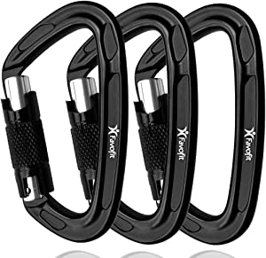 Favofit Locking Rock Climbing Carabiner Clips, Certified 25KN (5620 lbs) Heavy Duty Caribeaners for Rappelling Swinging Rescue & Gym etc, Large Carabiners, Black