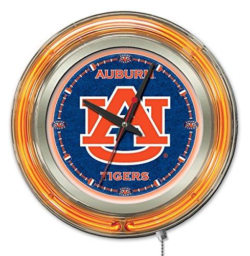 Tigers Neon Clock - Holland Bar Stool Company NCAA Auburn Tigers Double Neon Ring 15-Inch Diameter Logo Clock
