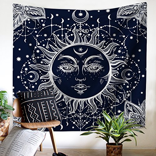 sun blinkers Wall Hanging Tapestry Psychedelic Sun and Moon Black Throw Bedding Beach Bohemian Blanket Living Room