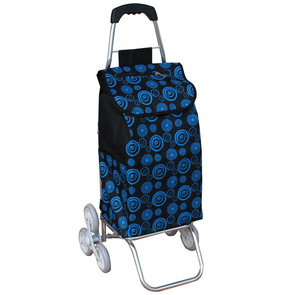 Handcart Folding Shopping Cart Hand Truck Six Rounds Climbing Stairs Trolley Grocery Shopping Trailer Elderly Bag Car Portable Cart Seven Colors Optional 35 Kg Load (Color : A)