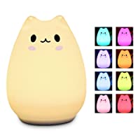 LED Night Light Elfeland Cute Children Night lights Silicone Cat Lamp Kids Bedside Lights, Warm White/12+1 Colors/6 Lighting Modes/USB Rechargable, Sensitive Tap Control for Baby Bedroom Nursery Birthday Gift(with Remote)