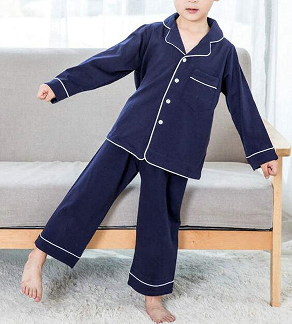 Bigbarry Girl Boy Two Pieces Lounge Sleepwear Long-Sleeve Pajama Sets