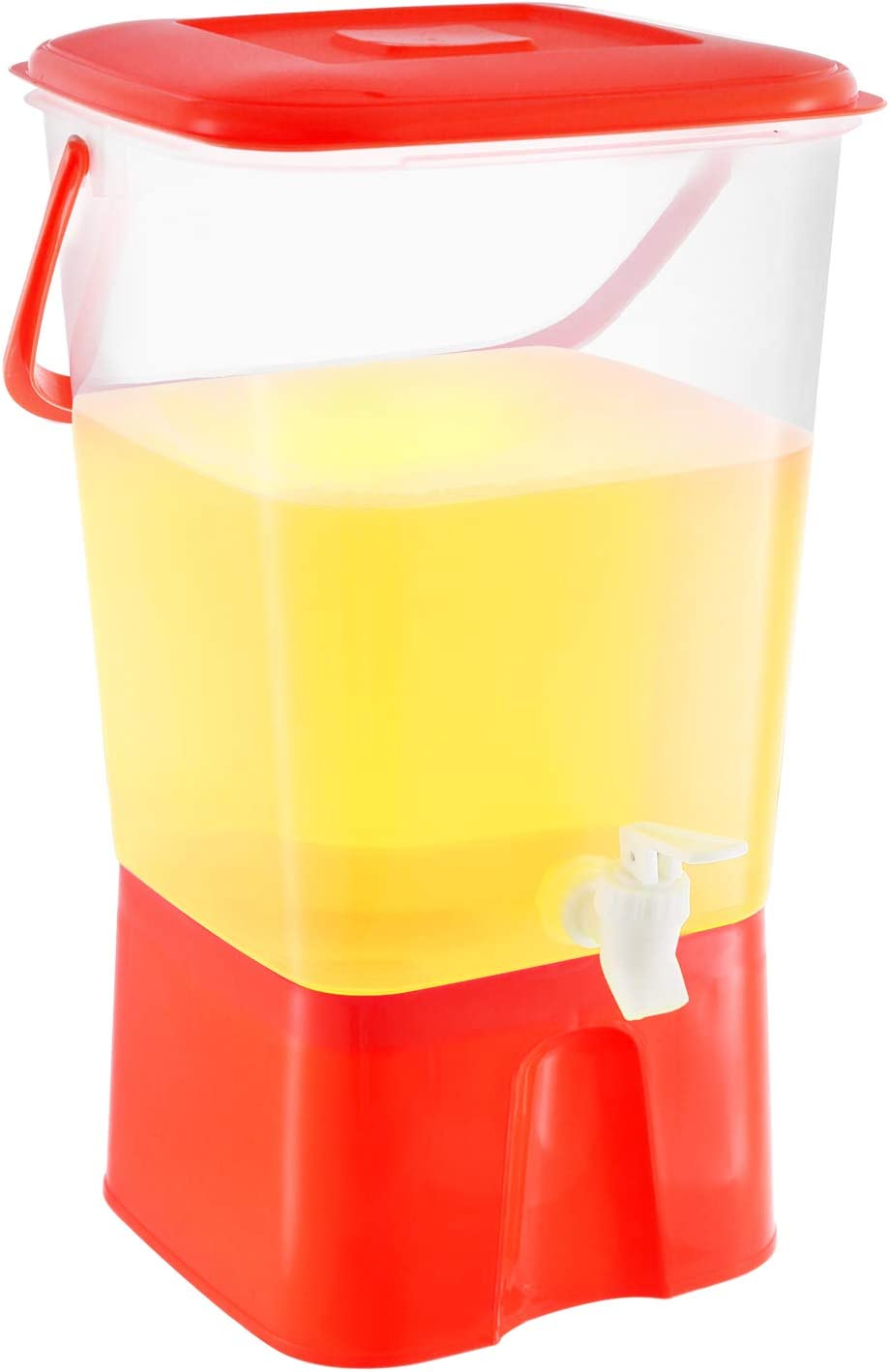 Zilpoo Plastic Beverage Dispenser with Stand & Spigot 2.11 Gallon (8L.) Cold Drink, Lemonade, Iced Tea, Juice Server Container for Parties, BPA Free, Red