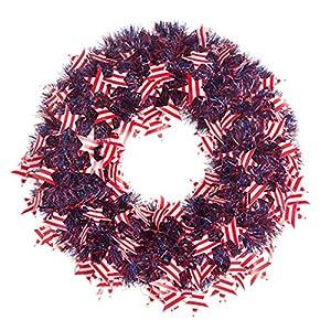 """Darice Patriotic Wreath American Flags Tinsel 20"""" 2"""