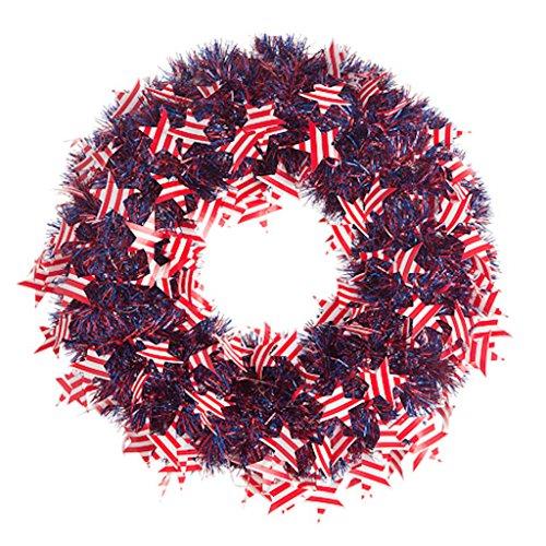 Darice Patriotic Wreath American Flags Tinsel 20