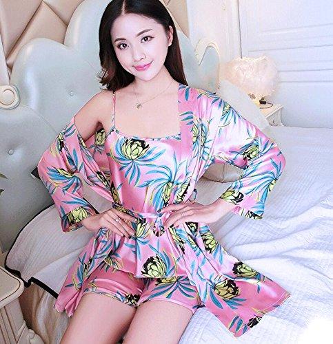 Wanyne -dressing Robes Avec Des Robes De Dames D'été Robe De Sangle Habiller Modèle Set Camélia Pyjama Vêtements Sangle Peignoir Short (couleur: Vert, Taille: Xl) Rose