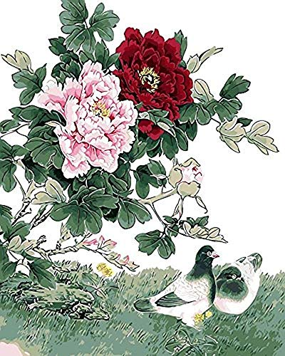 Paint by Number Kits - Pigeons and Peony 16x20 Inch Linen Canvas Paintworks - Digital Oil Painting Canvas Kits for Adults Children Kids Decorations Gifts (with Frame)