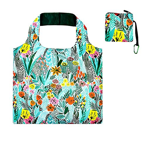 Folding Shopper - Foldable Reusable Grocery Bags for Shopping with Top Zipper Recycle Folding Tote for Travel Beach Shopper Women Reusable Shopping Bags Washable Waterproof Lightweight Sturdy Foldable Fashion Bag