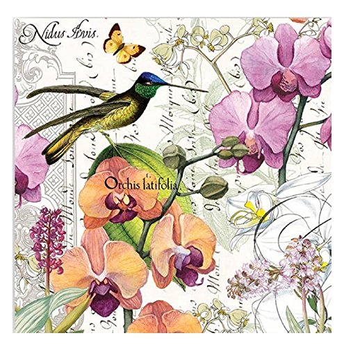 20-Count 3-Ply Paper Luncheon Napkins, Orchids in Bloom