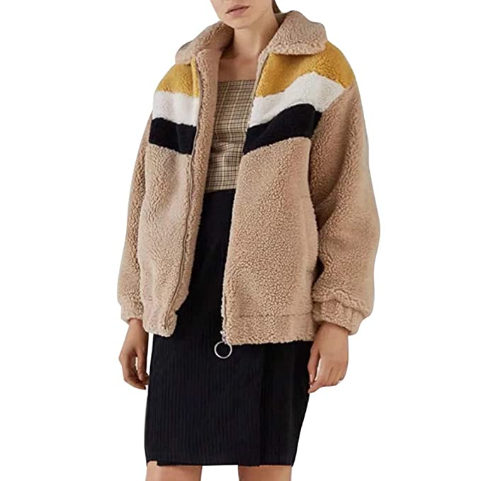 Overdose Clearance Women Winter Warm Coat Striped Splicing Plush Zipper XS Jacket Cardigan Thick Blouse Outerwear: Amazon.es: Ropa y accesorios
