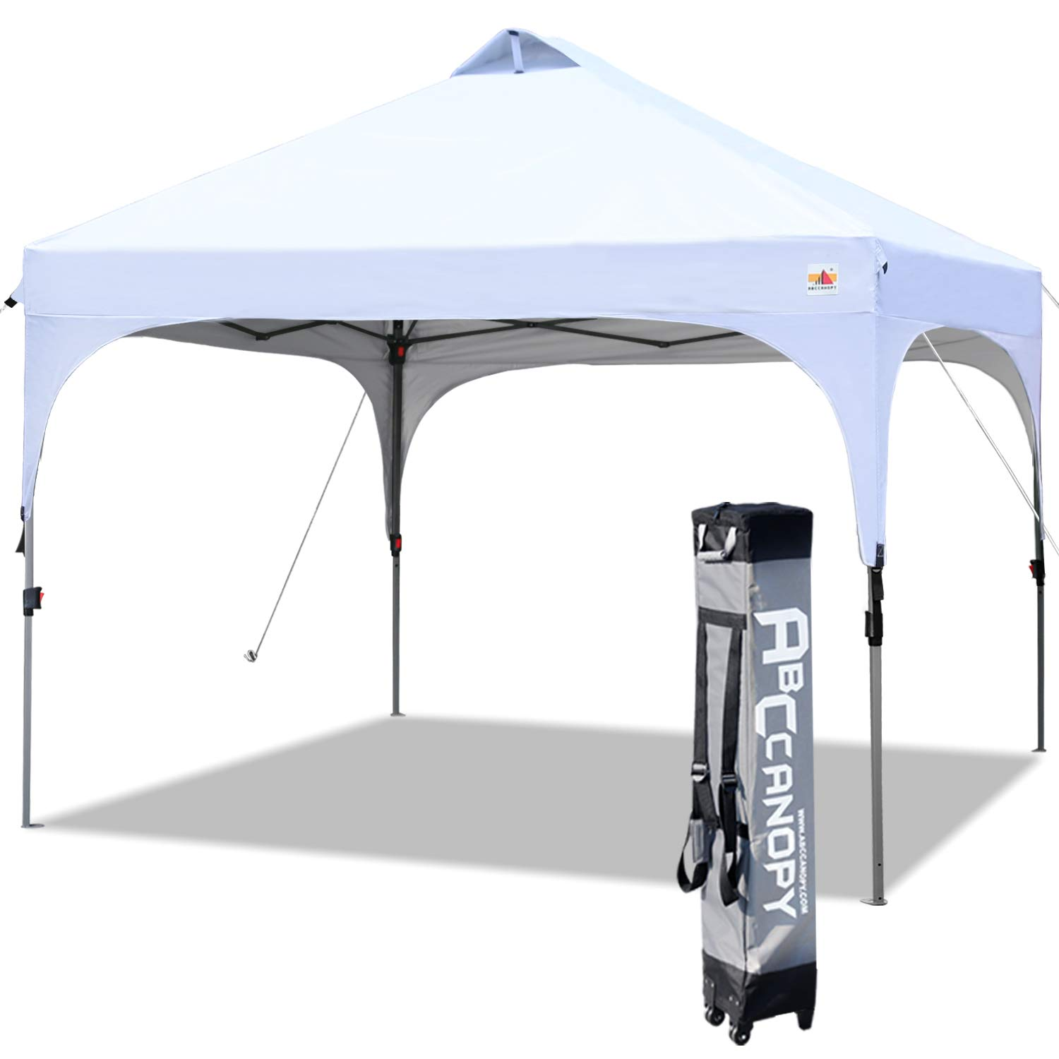 ABCCANOPY Canopy Tent 10×10 Pop Up Canopy Outdoor Canopies Portable Tent Popup Beach Canopy Shade Canopy Tent with Wheeled Carry Bag Bonus 4 Weight Bags, 4 x Ropes 4 x Stakes, White