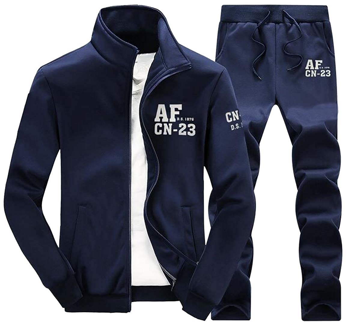 DFBB Mens Letter Print 2 Piece Suits Full-Zip Jacket /& Pants Casual Active Outfits Tracksuit Sweatsuits