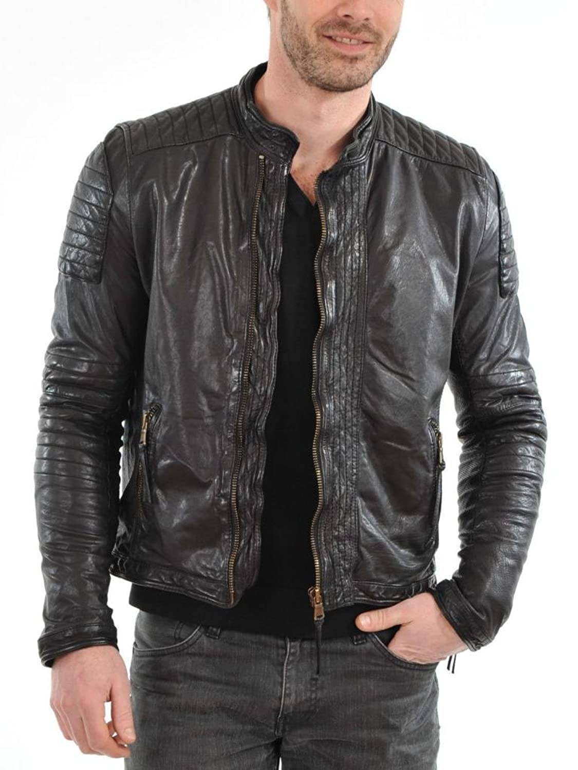 Men Leather Jacket Biker Motorcycle Coat Slim Fit Outwear Jackets AUK096