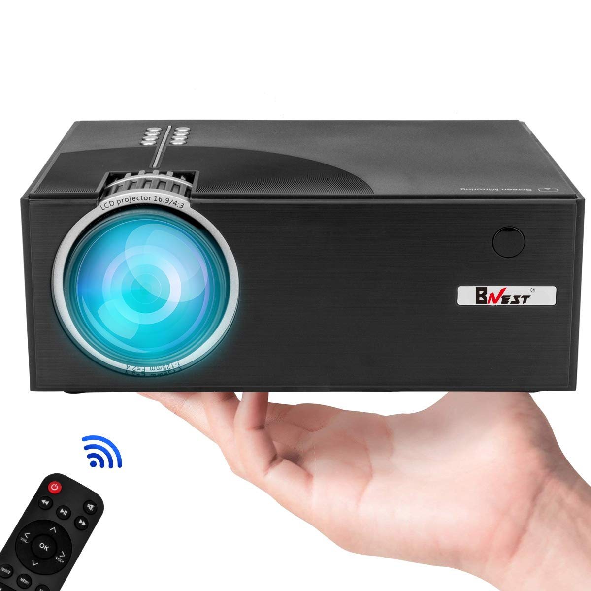 BNEST Home Video Projector, Portable Handheld HD Projector, Support 720P, 1080P Video, Portable Projector Supports iPhone, Android, HDMI, USB, VGA, AV, SD Card, Compatible with Fire TV Stick