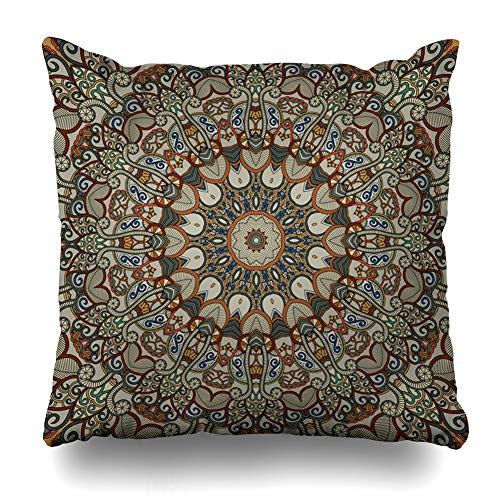 Ornamental Silk Square Scarf - Ahawoso Throw Pillow Cover Multicolor Arabic Ornamental Floral Ethnic Istic Asian Canvas Endless Flower Design Decorative Pillow Case Home Decor Square Size 20x20 Inches Pillowcase
