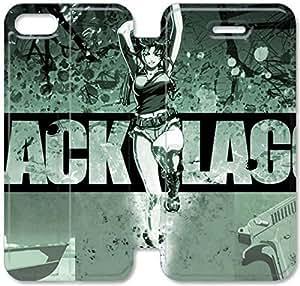 Funda de cuero del caso del tirón del cuero del teléfono funda E0T72C8 negro Laguna B5N80Y7 iPhone 5C funda de plástico duro