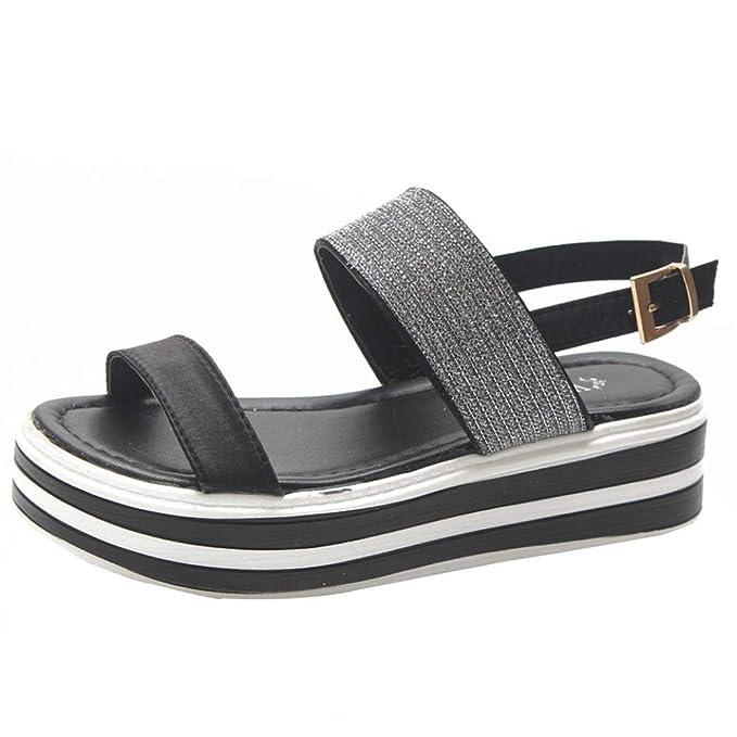 ... Sandalias para Mujer Sandalias cuña Mujer Verano 2018 Zapatos Planos  Mujer Verano Mujer Sandalias Plataforma  Amazon.es  Ropa y accesorios 528b9a5b48b7