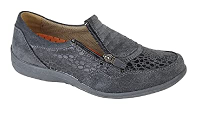 441fd8dd1b0b Boulevard Ladies Comfort Casual Extra Wide Reptile Print Trainer Shoes -  Grey