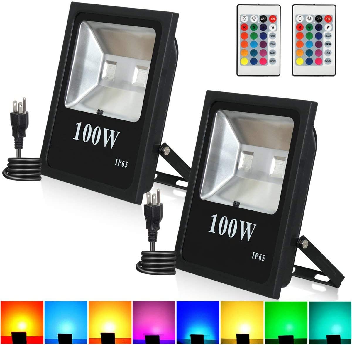 100W RGB LED Flood Lights, T-Sunrise Outdoor Color Changing Floodlight with Remote Control, IP65 Waterproof 16 Colors 4 Modes Wall Washer Light, Stage Lighting with US 3-Plug 2 Pack