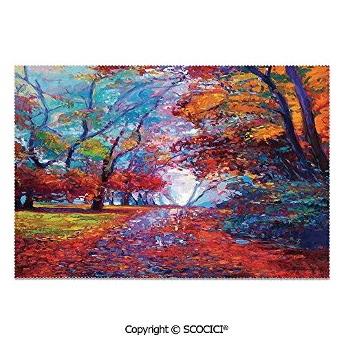 SCOCICI Place Mats Set of 6 Personalized Printed Non-Slip Table Mats Colorful Fairy Paint of Park in Fall Arts View of The Earth and Trees in The Nature Art Work for Dining Room Kitchen Table Decor