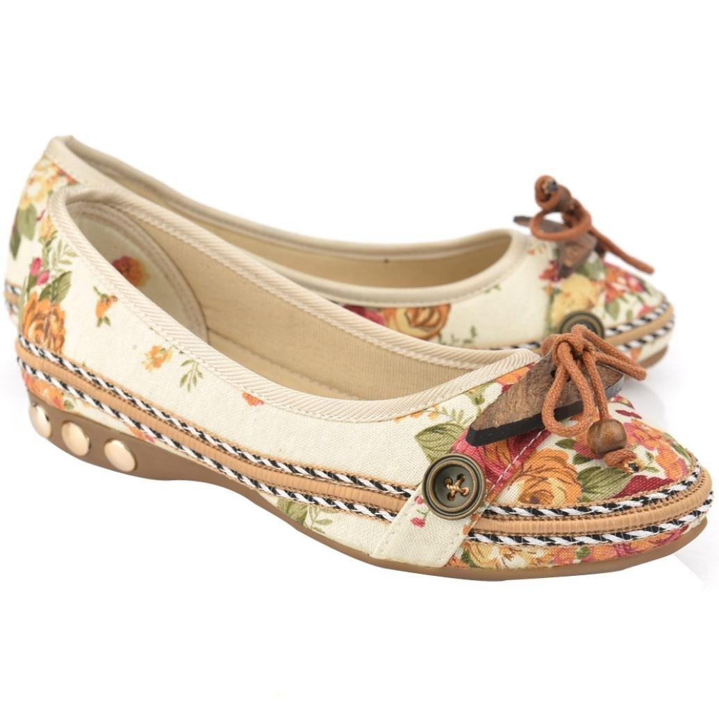 Sunshinehomely Womens Vintage Embroidery Shoes Leisure Slip-On Flats Sandals Boat Comfort Dress Shoes