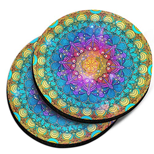 (CARIBOU Coasters, Multicolor Mandala Design Absorbent ROUND Fabric Felt Neoprene Car Coasters for Drinks, 2pcs Set)