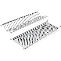 Emuca - Escurridor de platos y vasos de acero inoxidable para muebles de cocina de ancho 80 cm
