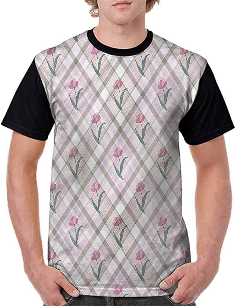 Performance T-Shirt,Diagonal Lines Floral Fashion Personality Customization
