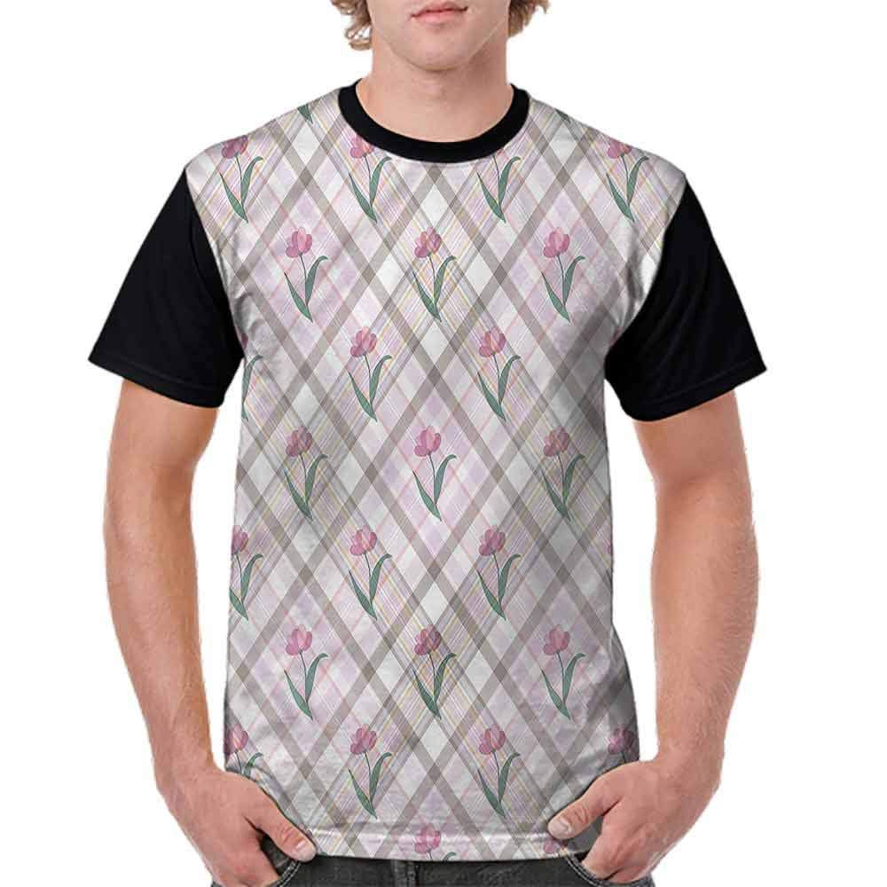 Trend t-Shirt,Diagonal Lines Floral Fashion Personality Customization