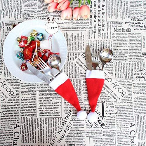 m·kvfa Tableware Bags Christmas Decorative Tableware Fork Set Christmas Hat Storage Tool Knife Set Christmas Party Decoration for Home Restaurant (5Pcs) ()