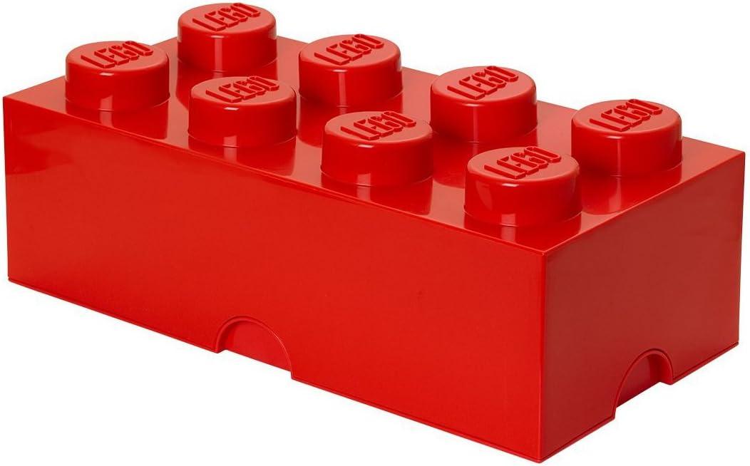 LEGO - Caja de almacenamiento apilable, 8 pomos, plástico, rojo ...