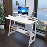 Wooden Double-layer Storage Computer Desk,compact Durable Desktop Laptop Table Easy To Install Office Desk For Home Bedroom Study Table-white 80x50x73cm(31x20x29inch)