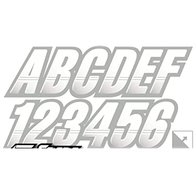 """Stiffie Techtron White/Silver 3"""" Alpha-Numeric Registration Identification Numbers Stickers Decals for Boats & Personal Watercraft: Automotive"""
