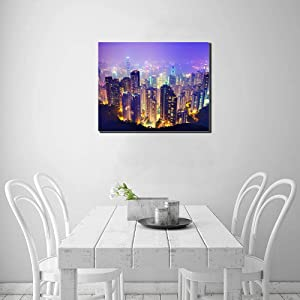 Customized Canvas Prints(Made In USA) ,Waterproof Ink Printing Framed Wall Painting ,Hong Kong Skyline, Personalized for Home Decor.