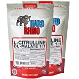 Hard Rhino L-Citrulline DL-Malate 1:1 Powder, 250 Grams (8.8 Oz), Unflavored, Lab-Tested, Scoop Included