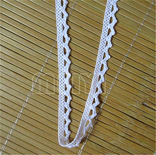 - 20 Yard Cotton Crochet Cluny Chic Lace Edge Trim Ribbon Tape 1 cm Width Vintage Edging Trimmings Fabric Embroidered Applique Sewing Craft Wedding Dress Embellishment DIY Card Clothes Hat Decor (White)