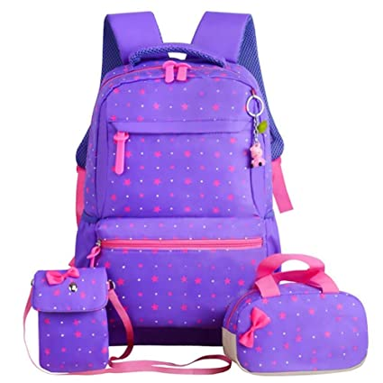 6fd18e8bd0 Cathy02Marshall Pack of 3 2018 New Style Primary School Girls. Canvas  fashionable handbag campus backpack student backpack school bag knapsack