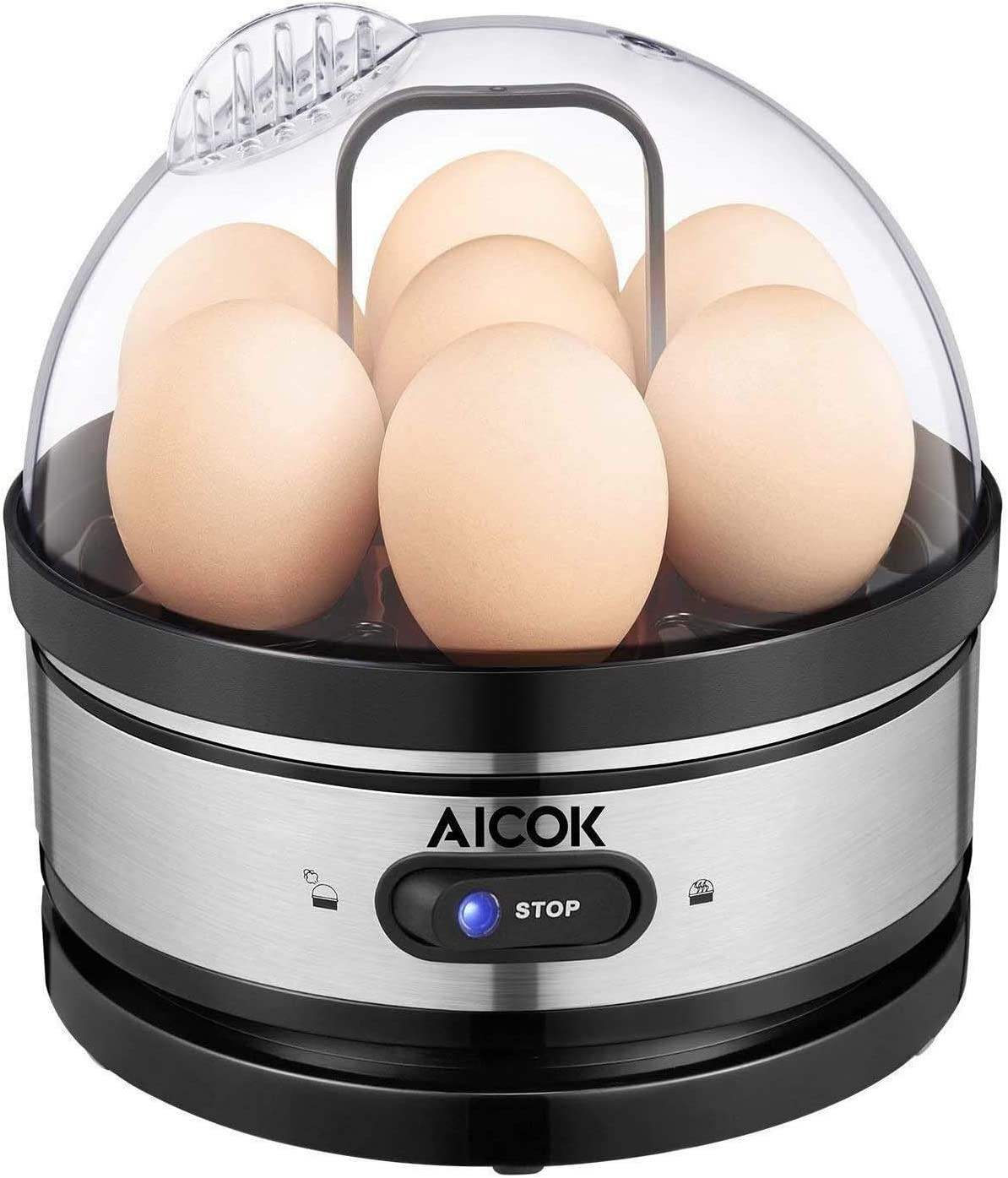 Egg cooker, AICOK Stainless Steel 7 Egg Capacity Rapid Egg Boiler with 2 BPA-Free Poachers 2 Heating Modal, Electric Egg Steamer for Hard Boiled Eggs, Poached Eggs, Omelets, Auto Power Off
