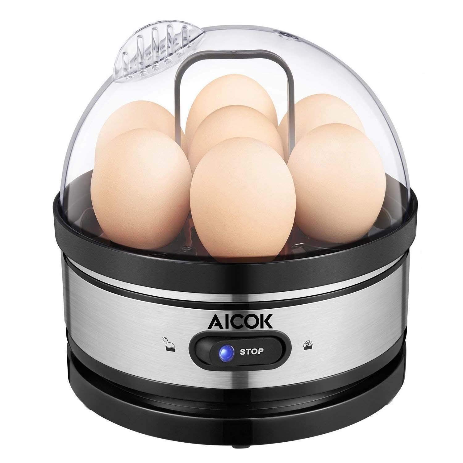 Egg cooker, AICOK Stainless Steel 7 Egg Capacity Rapid Egg Boiler with 2 BPA-Free Poachers & 2 Heating Modal, Electric Egg Steamer for Hard Boiled Eggs, Poached Eggs, Omelets, Auto Power Off by AICOK