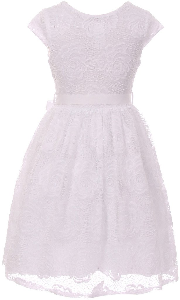 Flower Girl Dress Curly V-Neck White Embroidery AllOver for Little Girl White 8 JKS.2066 by BNY Corner (Image #3)