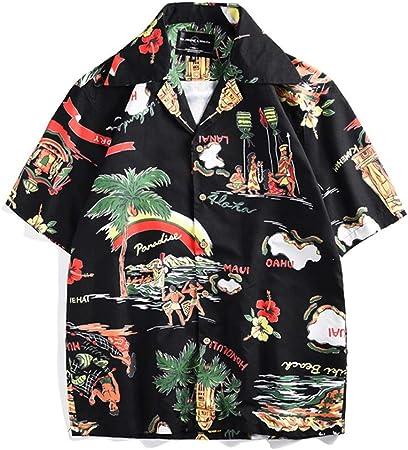 Feixunfan Camisas de los Hombres Camisa de Playa de Manga Corta para Hombres Estera de Playa Estampado cómodo Transpirable Conveniente para la Fiesta de Surf de Playa Playera Fiesta de Playa: Amazon.es: